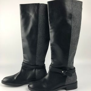 Zara Black Faux Leather Gray Equestrian Boots